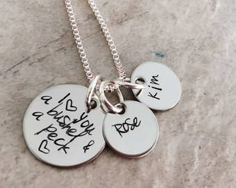I love you a bushel and a peck personalized necklace set with name charms mothers necklace mom jewelry gift custom jewelry mothers day