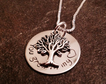 Hand stamped personalized necklace You grew in my heart adoption mother custom necklace with tree charm