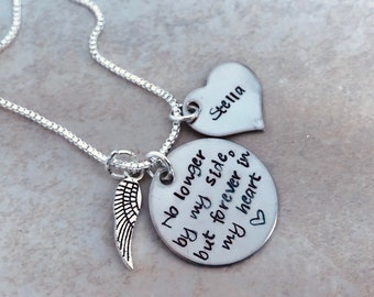 Personalized necklace no longer by my side but forever in my heart pet loss of per parent loss of friend memorial jewelry remembrance angel