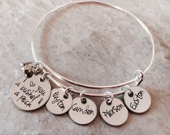 I love you a bushel and a peck personalized bangle bracelet hand stamped personalized bracelet with children's names mothers jewelry