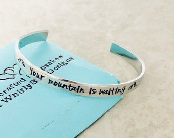 Your mountain is waiting jewelry cuff bracelet custom cuff bracelet mountain jewelry enjoy the journey adventure graduation gift engraved