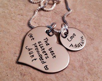 Personalized aunt necklace with names the best sisters get promoted to aunt heart charm