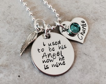 I used to be his angel now he is mine personalized necklace in memory of remembrance jewelry forever in our heart mom dad grandma loss