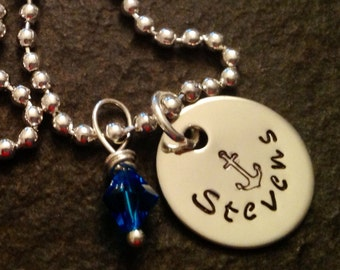 Personalized necklace hand stamped with anchor and crystal navy wife girlfriend