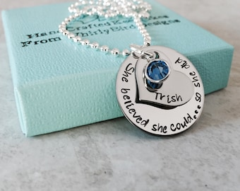 She believed she could so she did personalized necklace custom necklace birthstone necklace encouragement gift graduation gift hand stamped