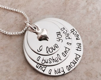 I love you a bushel and a peck and a hug around the neck hand stamped necklace with puffed heart charm
