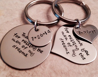 Set of two mother in law father in law keychains personalized hand stamped