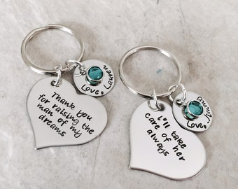 Personalized mother in law gift keychains thank you for raising the man of my dreams woman of my dreams wedding favors bridesmaid gifts
