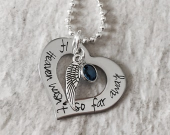 If heaven wasn't so far away personalized necklace with birthstone crystal and angel wing charm remembrance forever in my heart