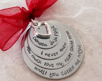 I never know how much love my heart could hold until you called me mom personalized christmas ornament baby's first christmas