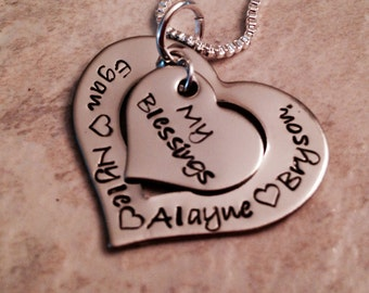 Sale! My blessings necklace personalized necklace mom mother grandma kids names hand stamped jewelry moms blessings grandmas blessings