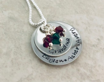 Hand stamped necklace with your choice of names, phrase, etc. perfect for grandma