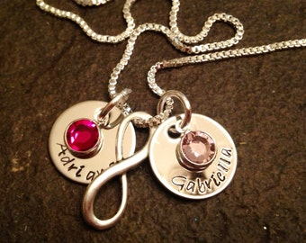 Hand stamped personalized name necklace with birthstone and infinity charm