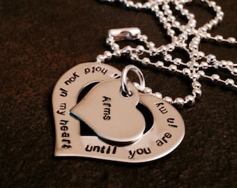 I'll hold you in my heart until you're in my arms mothers necklace personalized hand stamped