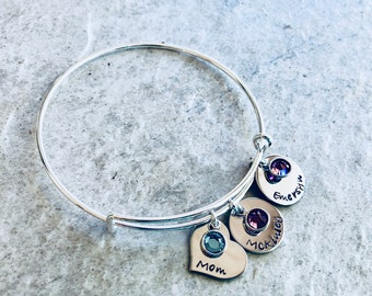 Personalized mother's bracelet with children's names and birthstones monogrammed bracelet mother's day gift for mom birthday Christmas salw