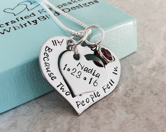 All because two people fell in love personalized necklace with kids names mother mom moms necklace personalized gift for mom wife