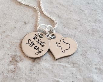 SALE Texas strong necklace personalized home state necklace custom Texas jewelry hand stamped jewelry necklace monogrammed charm on sale