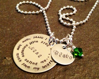 Hand stamped personalized mothers grandmothers or Nana's necklace