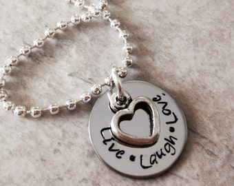 Live Laugh Love hand stamped necklace with open heart charm