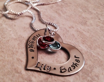 Hand stamped personalized mother or grandmothers necklace with heart and swarovski crystals gift for mom mothers necklace mothers day