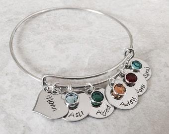 Hand stamped personalized bangle bracelet bracelet children names birthstone custom bracelet cuff bracelet mothers jewelry grandma gift