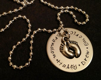 Personalized necklace with baby feet charm. Great for new moms grandmas etc