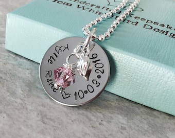 Personalized hand stamped name charm with birthday heart charm and pearl