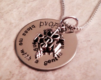 Hand stamped personalized nurse necklace nurse prayer lord bless me with a gentle hand and caring heart nurse week RN LPN Nurse practitioner