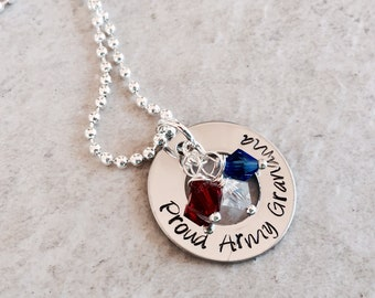 Personalized proud army mom grandma sister necklace military mom army navy coast guard marine corps Air Force mom jewelry custom keepsake