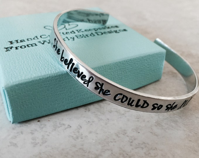 Featured listing image: She believed she could so she did cuff bracelet hand stamped bracelet personalized bracelet personalized jewelry