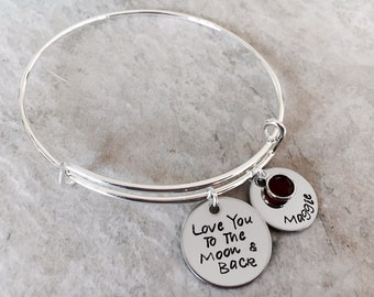 Love you to the moon and back custom personalized bangle bracelet monogrammed bracelet gift for mom gift from child moon & back I love you