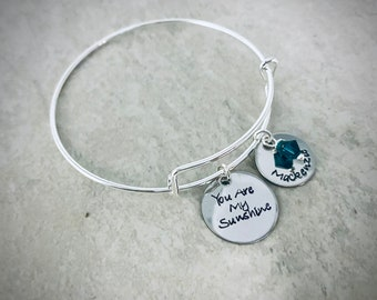 You are my sunshine personalized bangle bracelet with children's names and swarovski birthstones custom bracelet for mom jewelry kids names