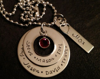 Personalized Mother's or Grandmother's necklace with names and birthstone