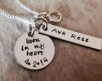 Born in my heart personalized necklace adoption necklace monogrammed birthdate mother daughter adoption date hand stamped custom jewelry