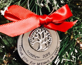 Personalized Teacher gift teacher Christmas ornament monogrammed ornament Christmas gift for teacher mentor educator personalized gift