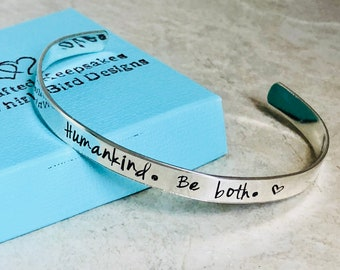 Custom cuff bracelet Humankind Be Both monogrammed cuff bracelet kindess be kind personalized hand stamped cuff bracelet custom wording gift