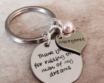 Thank you for raising the man of my dreams thank you for raising the woman of my dreams personalized keychain necklace mother in law