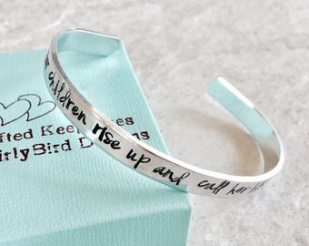 SALE her children rise up and call her blessed personalized mothers bracelet cuff bracelet Mother's Day gift for mom hand stamped monogram