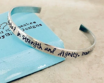 She is clothed in strength and dignity proverbs 31:25 custom cuff bracelet with bible verse personalized silver jewelry monogrammed gift