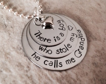 Personalized necklace there is a boy who stole my heart he calls me grandma he calls mom