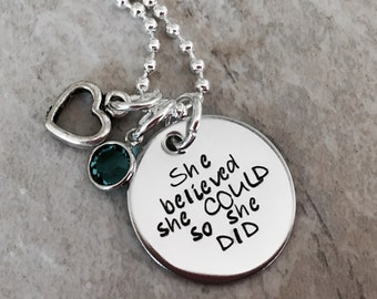 Sale! She believed she could so she did custom personalized hand stamped necklace gift for graduation personalized jewelry personalized gift