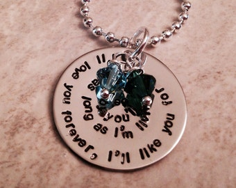 I'll love you forever, I'll like you for always, as long as I'm living, my baby you'll be hand stamped necklace with Swarovski crystals