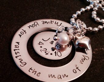 Thank you for raising the man of my dreams necklace with personalized charm and freshwater pearl woman of my dreams necklace