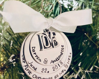 Personalized Christmas ornament our first Christmas married first Christmas as mr and mrs wedding gift idea wedding favors anniversary gift