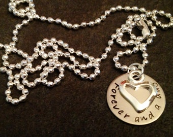 Hand Stamped Necklace Forever and a day with open heart charm