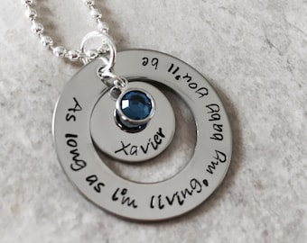 As long as I'm living my baby you'll be mothers necklace with child's name and birthstone mom mommy grandma pregnancy Swarovski crystal
