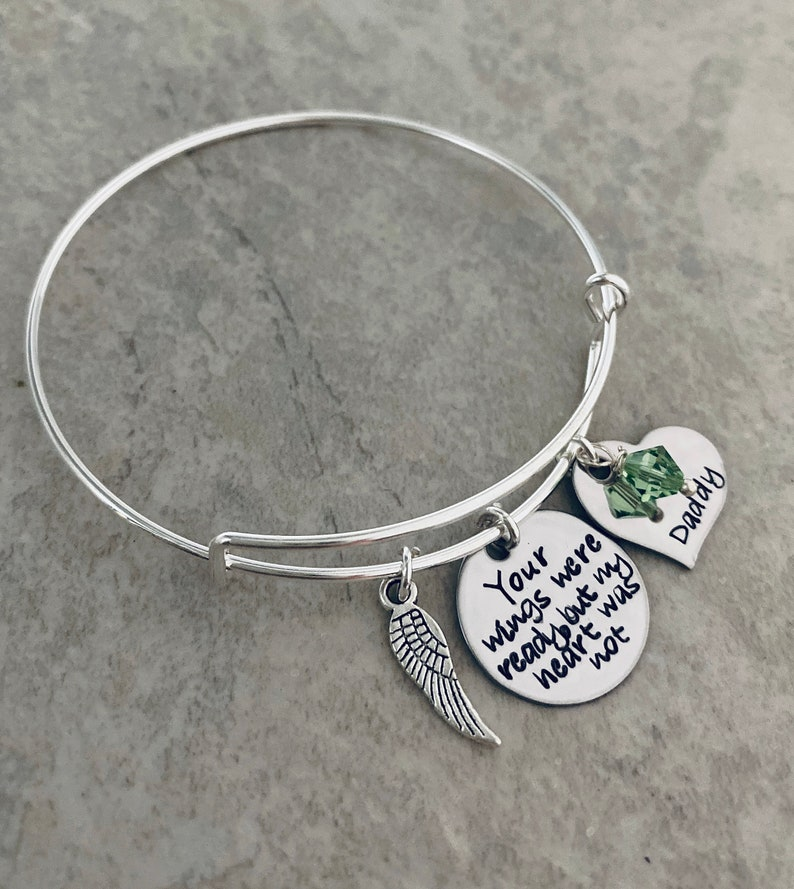 Your wings were ready but my heart was not personalized bangle image 1