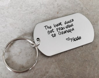Personalized grandpa keychain hand stamped the best dad's get promoted to grandpa