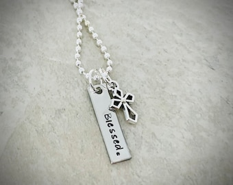 Hand stamped Blessed necklace