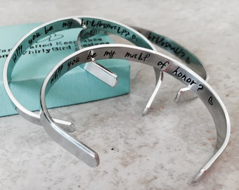 Set of bridesmaid bracelets personalized bridesmaid bracelets hidden message bracelet personalized cuff bracelet wedding gift mother